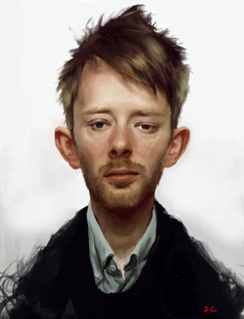 Caricatura Dibujo pintura digital Tom Radiohead | Diego Catalan Amilivia Dibujante Pintor