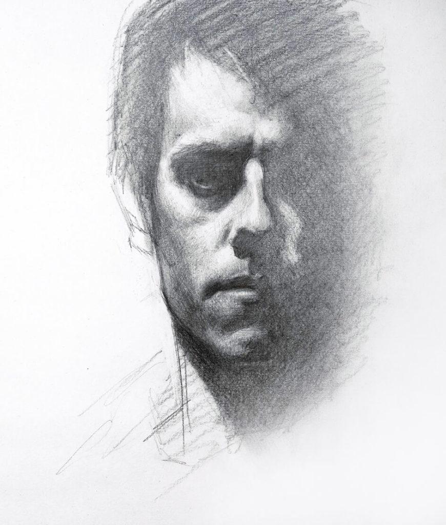 Dibujo Autoretrato Lapiz | Dibujante Pintor Diego Catalan Amilivia