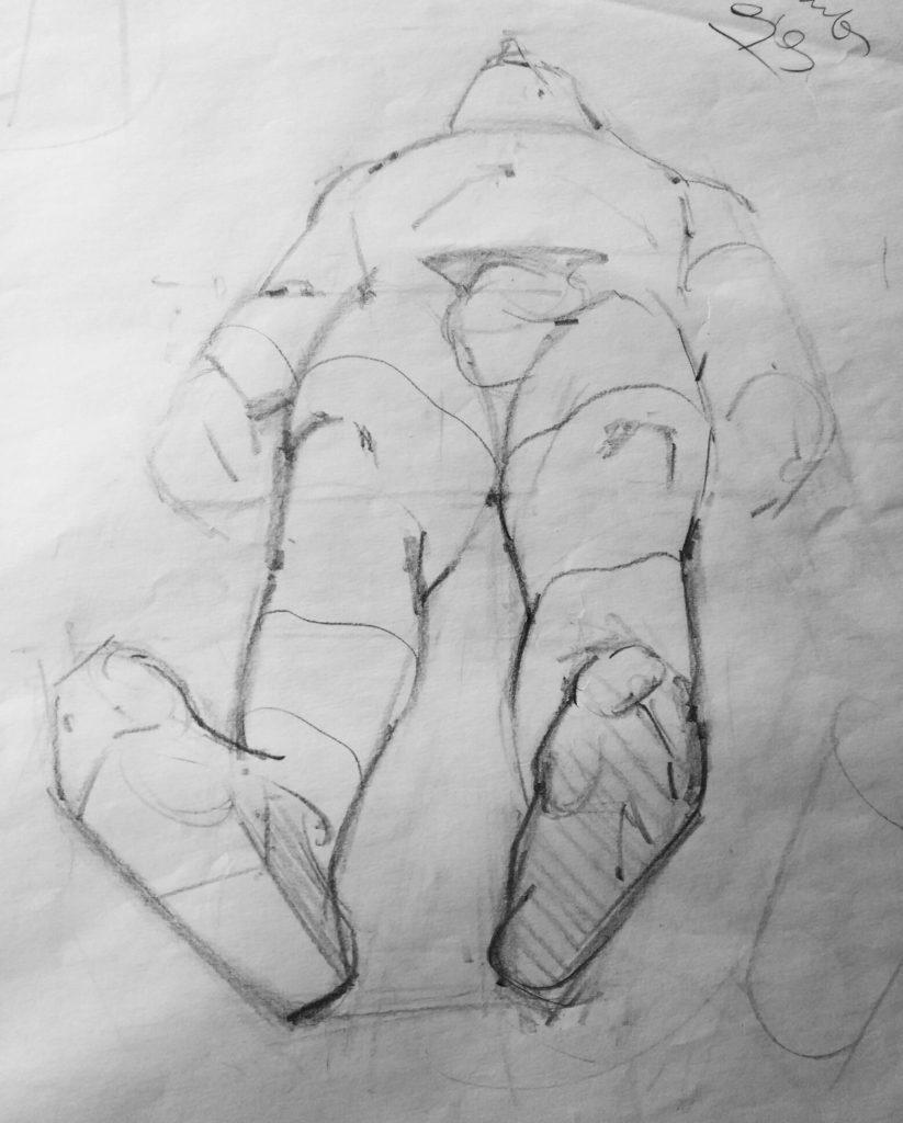 Dibujo Estructural Hombre escorzo | Diego Catalan Amilivia Dibujante Pintor