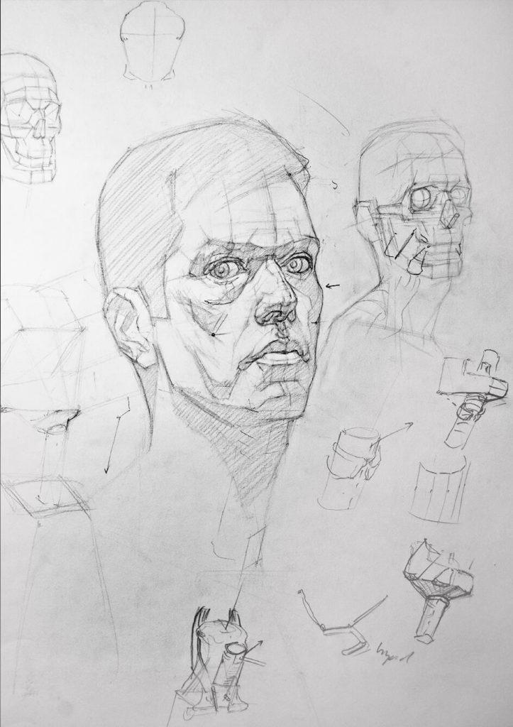 Dibujo Estructural Rostro hombre | Diego Catalan Amilivia Dibujante Pintor