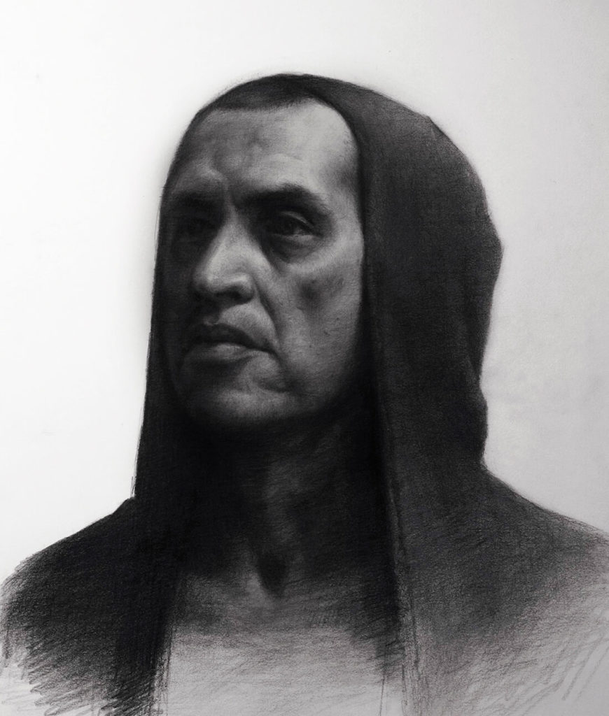 Dibujo Retrato Lapiz hombre con capucha | Diego Catalan Amilivia Dibujante Pintor