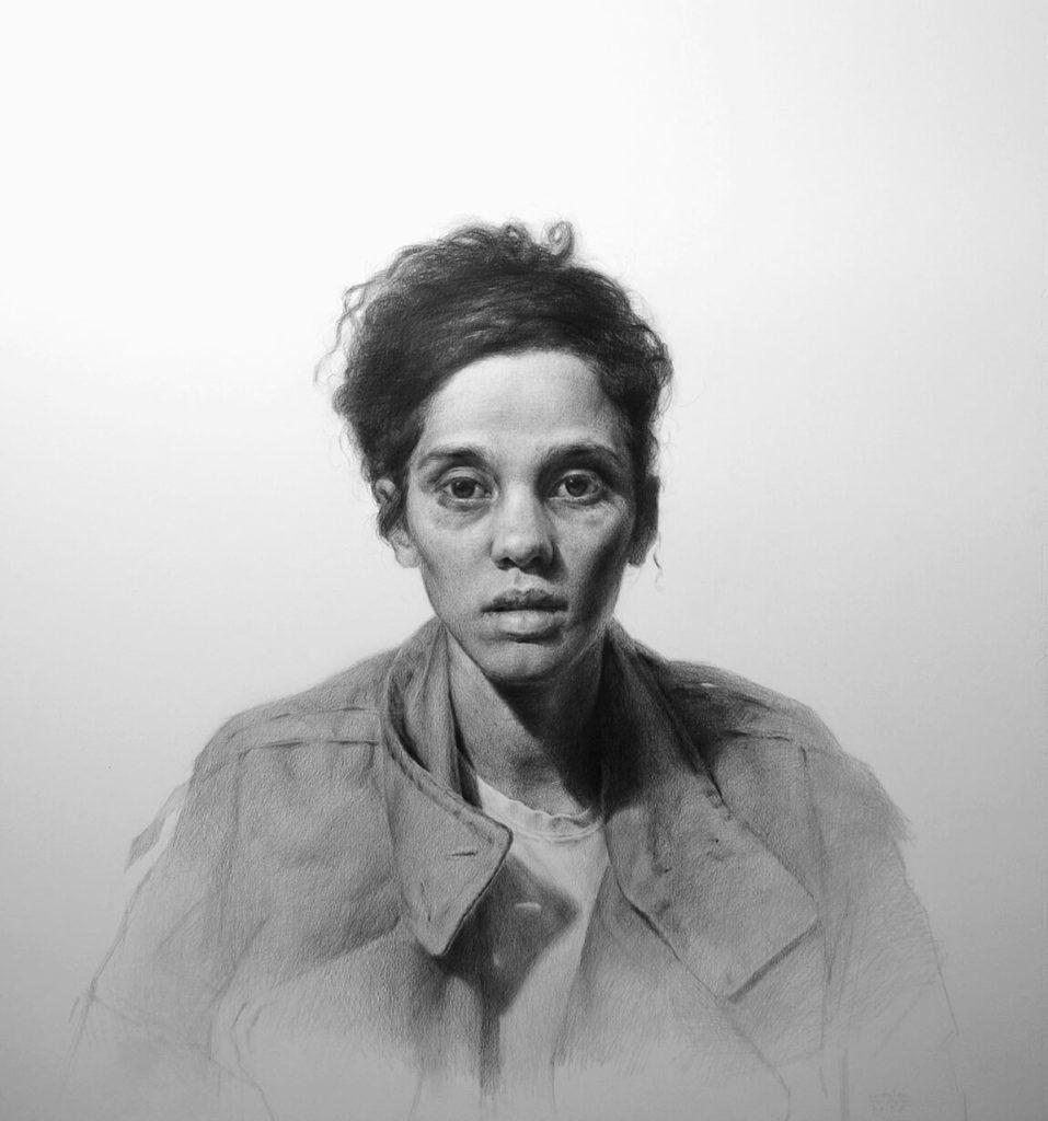 Dibujo Retrato Lapiz mujer abrigo | Diego Catalan Amilivia Dibujante Pintor