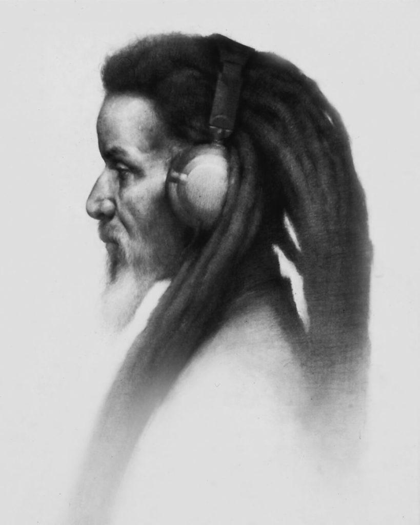 Dibujo Retrato Lapiz hombre cascos rastas | Diego Catalan Amilivia Dibujante Pintor