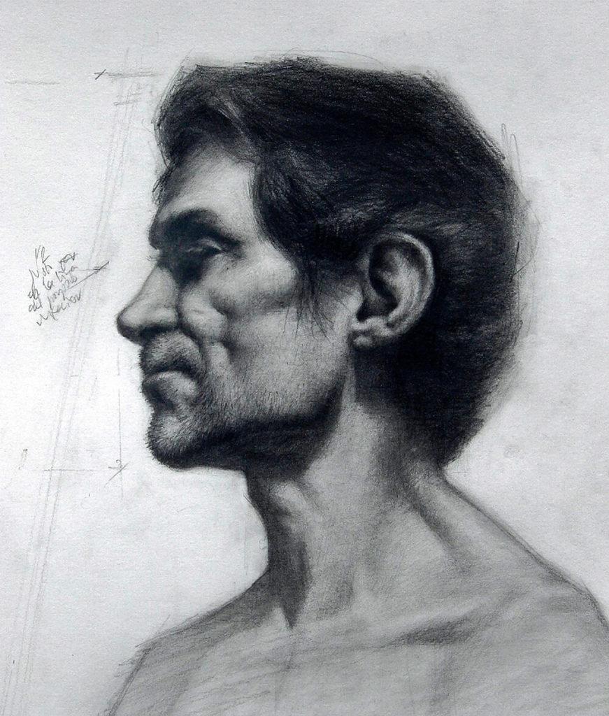 Dibujo Retrato Lapiz hombre perfil | Diego Catalan Amilivia