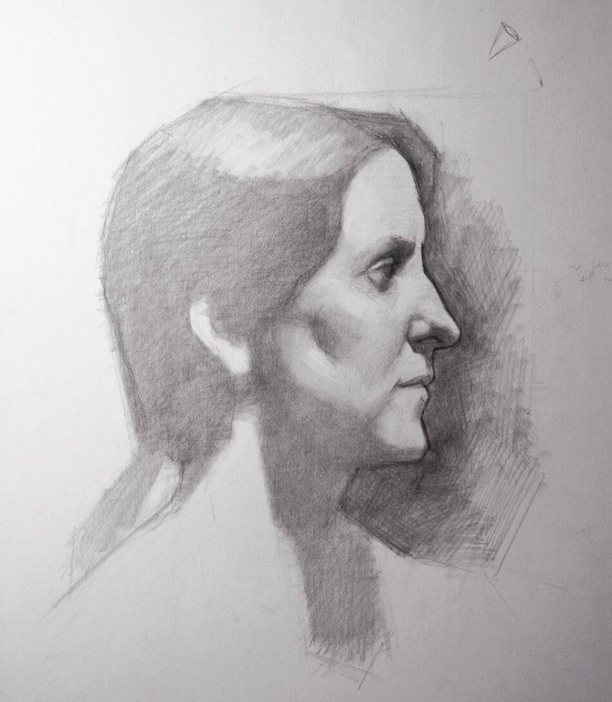 Dibujo Retrato Lapiz mujer perfil luz | Diego Catalan Amilivia