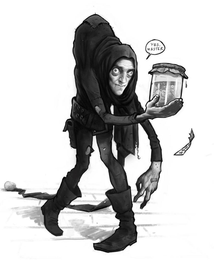 Ilustración Pintura digital personaje Frankenstein Igor jorobado | Diego Catalan Amilivia