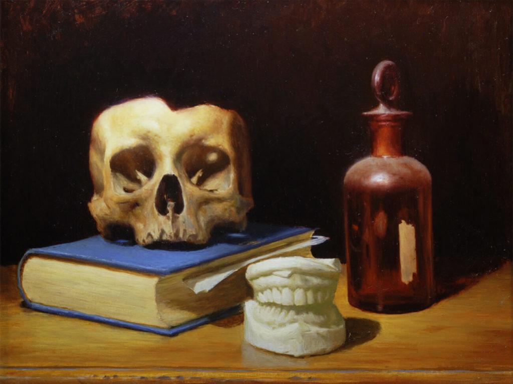 Bodegon Pintura al Oleo Calavera Libro | Diego Catalan Amilivia Dibujante Pintor