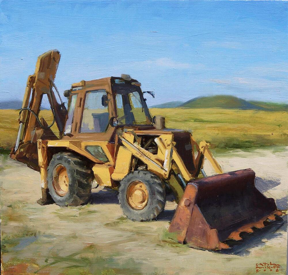 Bodegon Pintura al Oleo Excavadora | Diego Catalan Amilivia Dibujante Pintor
