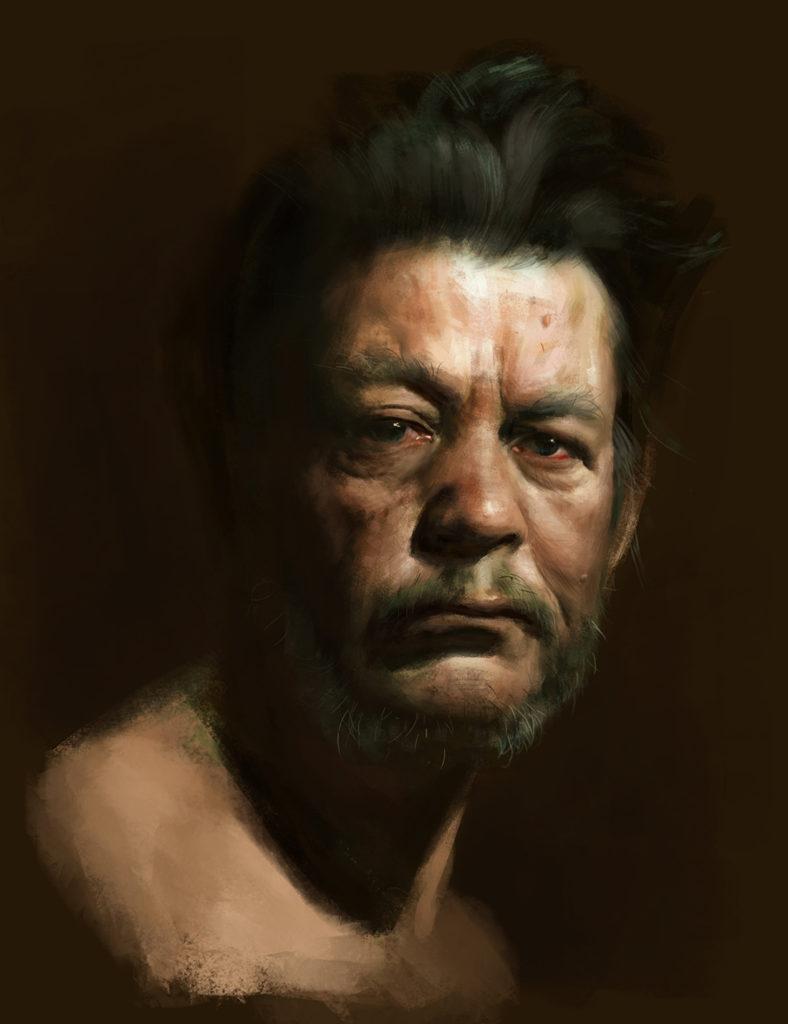 Retrato de mendigo Pintura Digital   Diego Catalan Amilivia