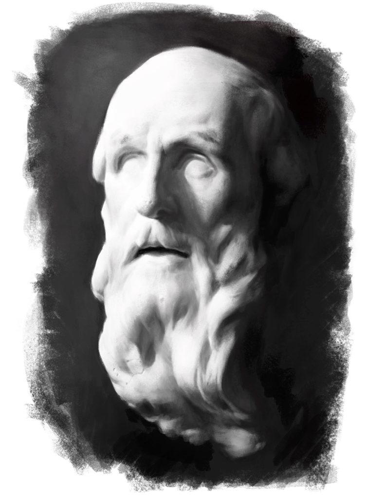 Retrato de cabeza de escayola Pintura Digital   Diego Catalan Amilivia