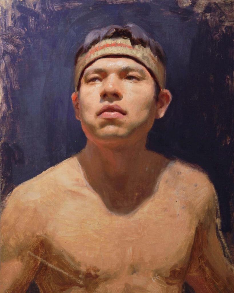 Retrato Pintura al Oleo hombre con bandana | Diego Catalan Amilivia Dibujante Pintor