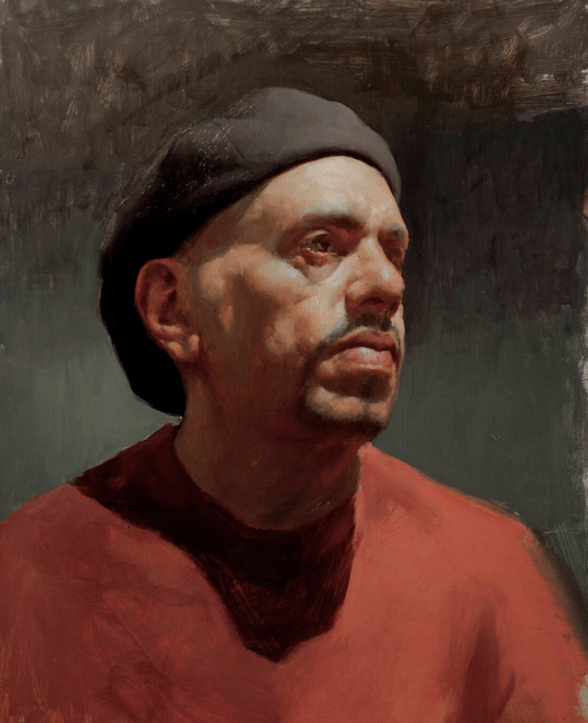 Retrato Pintura al Oleo hombre con boina | Diego Catalan Amilivia Dibujante Pintor