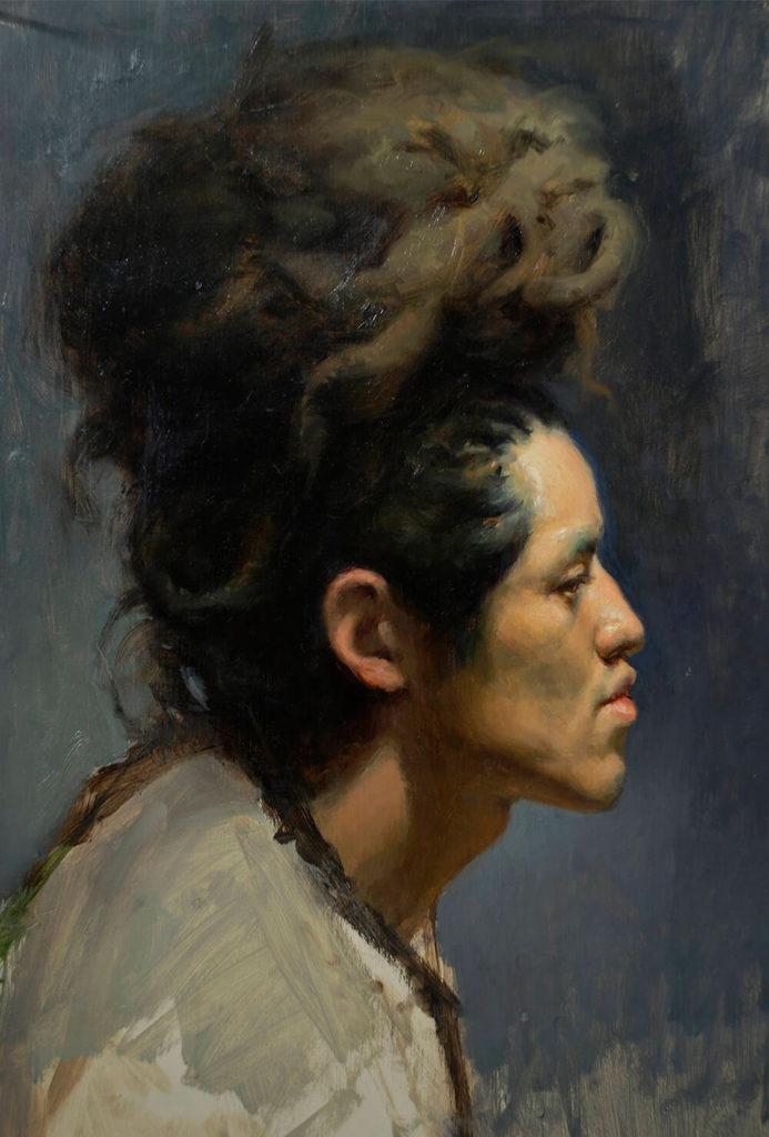 Retrato Pintura al Oleo hombrecon peinado | Diego Catalan Amilivia Dibujante Pintor